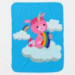 Cute Rainbow-Eating Cartoon Unicorn Baby Blanket