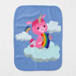 Cute Rainbow-Eating Cartoon Unicorn Burp Cloth