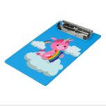Cute Rainbow-Eating Cartoon Unicorn Mini Clipboard