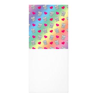 Cute rainbow elephant hearts pattern customized rack card