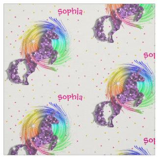 Cute Rainbow Fantasy Unicorn Personalized Print Fabric