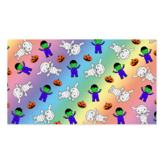 Cute rainbow Frankenstein mummy pumpkins Double-Sided Standard Business Cards (Pack Of 100)