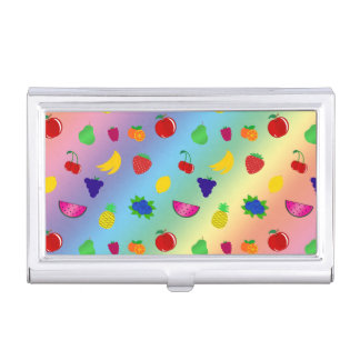 Cute rainbow fruits pattern case for business cards