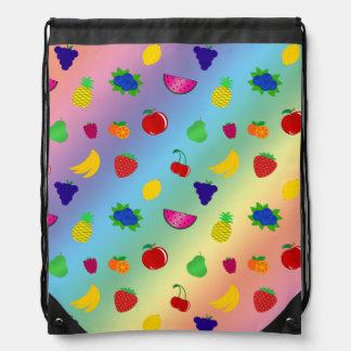 Cute rainbow fruits pattern drawstring backpacks