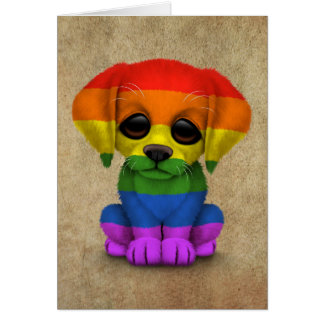 Cute Rainbow Gay Pride Puppy Dog Card