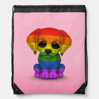 Cute Rainbow Gay Pride Puppy Dog, Pink Drawstring Bags