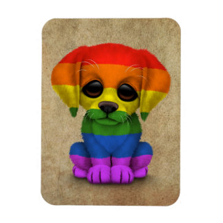 Cute Rainbow Gay Pride Puppy Dog Rectangular Photo Magnet