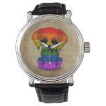 Cute Rainbow Gay Pride Puppy Dog, Rough Wristwatches