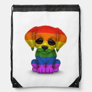 Cute Rainbow Gay Pride Puppy Dog, White Cinch Bags