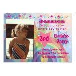 "Cute Rainbow Girls Birthday Invitations 5"" X 7"" Invitation Card"
