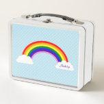 """Cute Rainbow Girls Personalized Metal Lunch Box<br><div class=""""desc"""">A cheerful rainbow and cloud illustration is featured on this personalized kids lunch box. Easily add your child&#39;s name!</div>"""