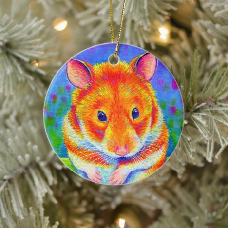 Cute Rainbow Hamster Ceramic Ornament