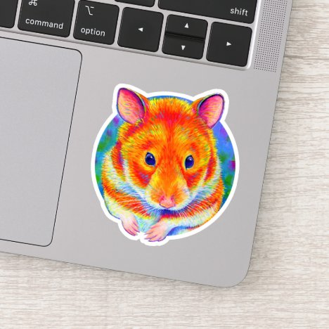 Cute Rainbow Hamster Vinyl Sticker