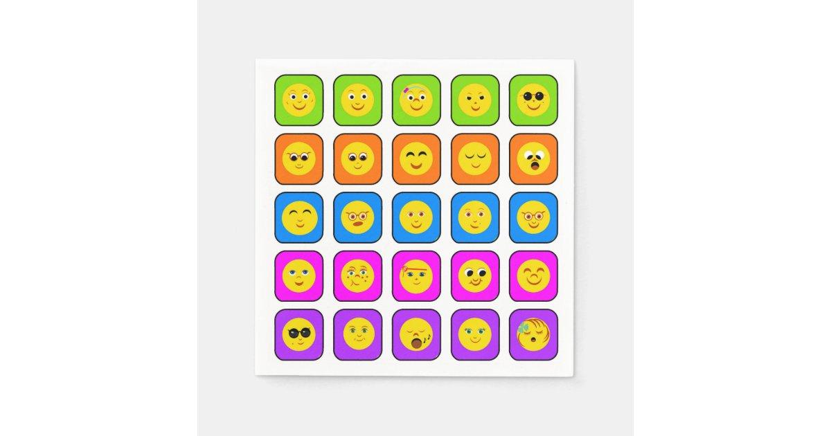 Cute Rainbow Happy Face Emoticons Pattern Paper Napkin Zazzle