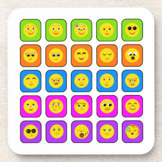 Cute Rainbow Happy Smiley Face Emoticons Pattern Coaster