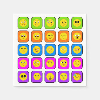 Cute Rainbow Happy Smiley Face Emoticons Pattern Paper Napkins