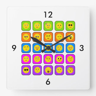Cute Rainbow Happy Smiley Face Emoticons Pattern Square Wall Clock