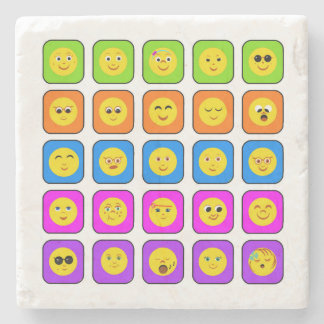 Cute Rainbow Happy Smiley Face Emoticons Pattern Stone Coaster