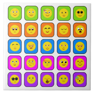 Cute Rainbow Happy Smiley Face Emoticons Pattern Tile