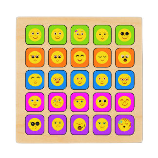 Cute Rainbow Happy Smiley Face Emoticons Pattern Wood Coaster
