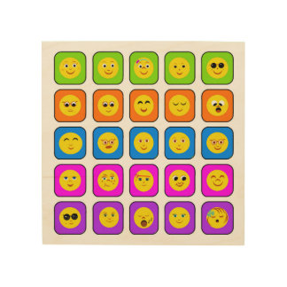 Cute Rainbow Happy Smiley Face Emoticons Pattern Wood Wall Art