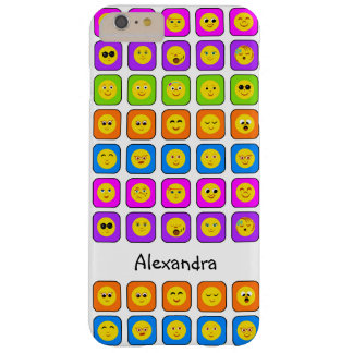 Cute Rainbow Happy Smiley Face Emoticons With Name Barely There iPhone 6 Plus Case