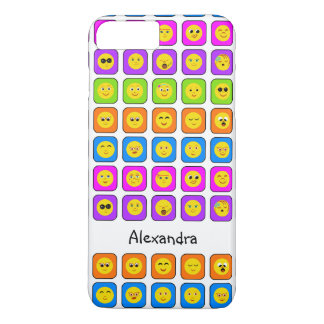 Cute Rainbow Happy Smiley Face Emoticons With Name iPhone 8 Plus/7 Plus Case