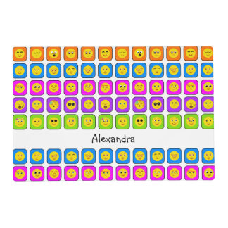 Cute Rainbow Happy Smiley Face Emoticons With Name Placemat