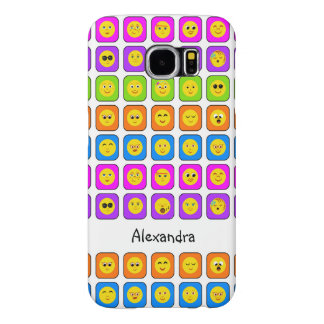 Cute Rainbow Happy Smiley Face Emoticons With Name Samsung Galaxy S6 Case