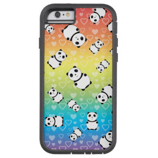 Cute rainbow hearts panda pattern tough xtreme iPhone 6 case