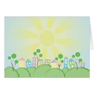 Cute Rainbow Houses on Hills Greeting Card