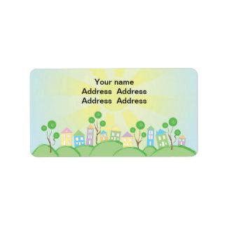 Cute Rainbow Houses on Hills Address Label