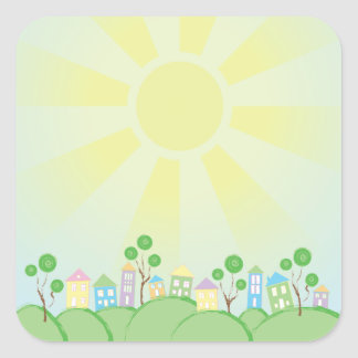 Cute Rainbow Houses on Hills Square Sticker