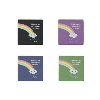 Cute Rainbow Inspirational and Motivational Quote Stone Magnet