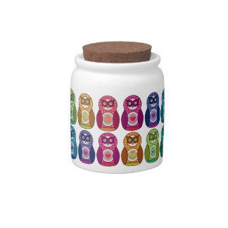 Cute Rainbow Matryoshka Owls Candy Jars
