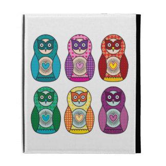Cute Rainbow Matryoshka Owls iPad Folio Cases