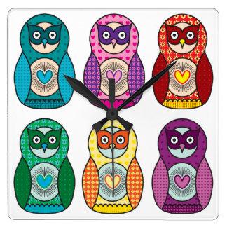 Cute Rainbow Matryoshka Owls Wallclock