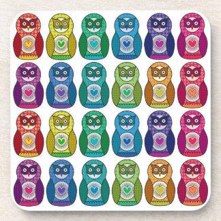 Cute Rainbow Matryoshka Owls Drink Coaster