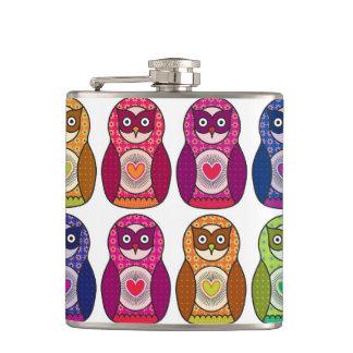 Cute Rainbow Matryoshka Owls Hip Flask