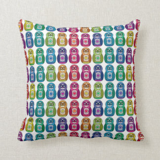 Cute Rainbow Matryoshka Owls Pillow