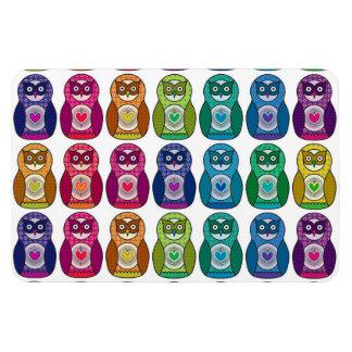 Cute Rainbow Matryoshka Owls Vinyl Magnets