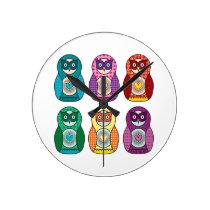 Cute Rainbow Matryoshka Owls Round Clock