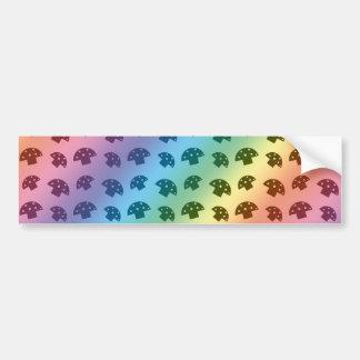 Cute rainbow mushroom pattern bumper sticker