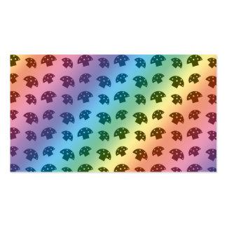 Cute rainbow mushroom pattern business cards