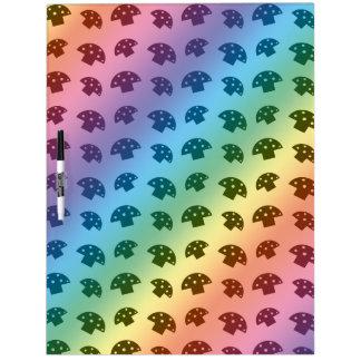 Cute rainbow mushroom pattern dry erase white board