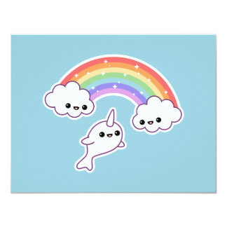Cute Rainbow Narwhal Birthday Party Invitations