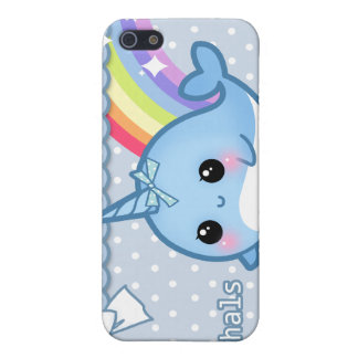 Cute rainbow narwhal on white & blue polka dots cover for iPhone SE/5/5s