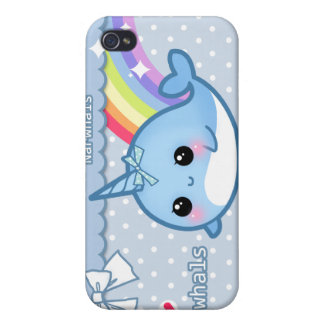 Cute rainbow narwhal on white & blue polka dots iPhone 4/4S case