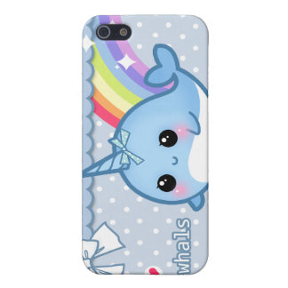 Cute rainbow narwhal on white & blue polka dots iPhone SE/5/5s cover