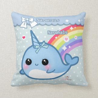 Cute rainbow narwhal on white & blue polka dots throw pillow